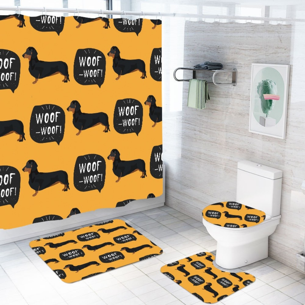 Bonito dachshund cortina de banho com ganchos livres 3d impressão do cão cortina de chuveiro tampa do toalete capa de banho tapetes 3/4pcs cortina de chuveiro conjunto