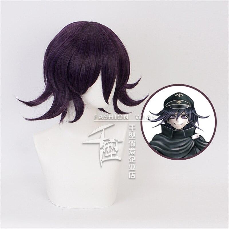 Danganronpa V3 Killing Harmony Ouma Kokichi peluca Cosplay hombre chicos azul negro corto recto Anime peluca regalo de fiesta de navidad