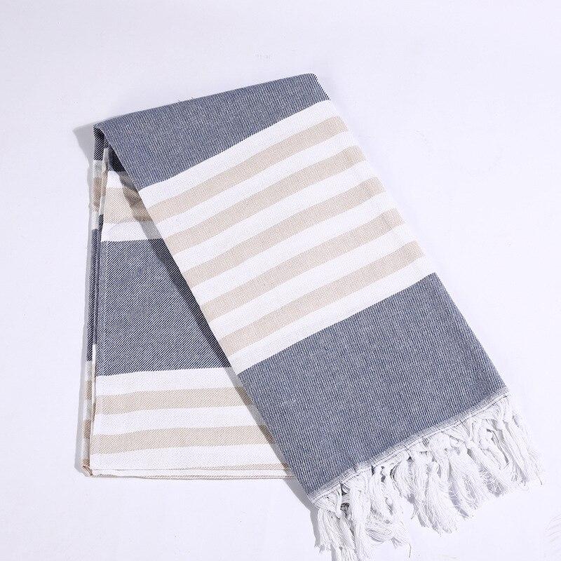 Toalla de borla turca 100% manta de playa a rayas para adultos Spa Hammam chal Hotel borla pañuelos Tippet 100x180cm