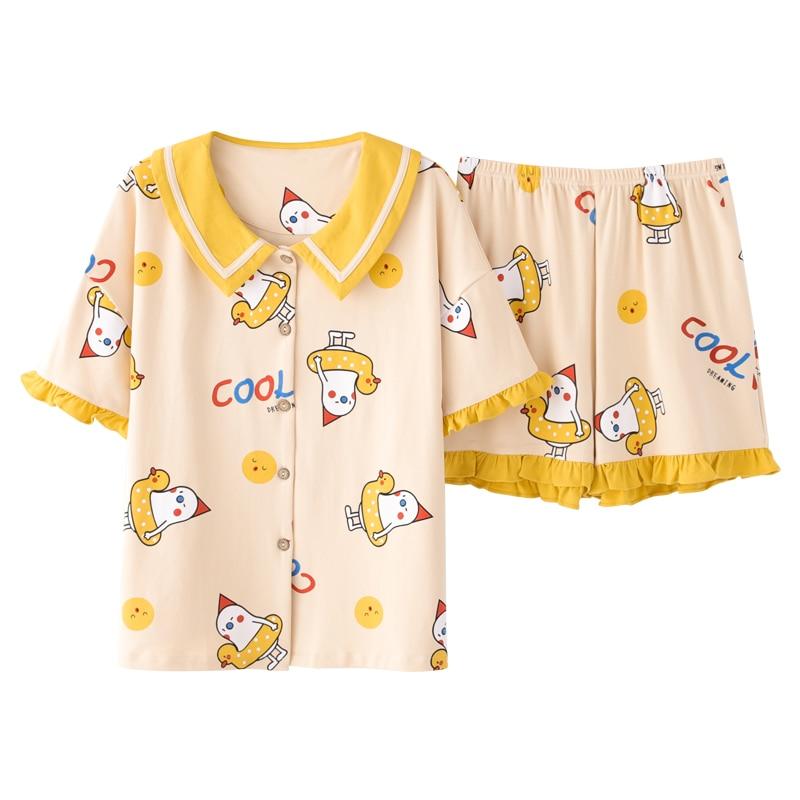 Nanjiren قصيرة الأكمام منامة المرأة القطن الخالص السراويل لطيف الأميرة نمط الصيف السيدات Homewear قطعتين دعوى