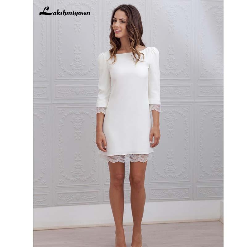 Lakshmigown-فستان زفاف قصير من الدانتيل بأكمام 3/4 ، فستان زفاف غير رسمي بدون ظهر