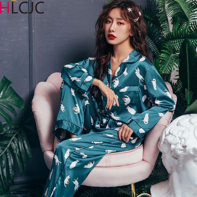 Summer Pyjamas Satin Silk Women Pajamas Sets Pijamas Mujer Cute Cat Femme Long Sleeve Sleepwear Female Homewear Home Service