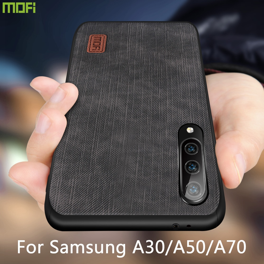 Mofi Für Samsung galaxy a70 Fall galaxy A50 A30 Abdeckung Gehäuse Silikon stoßfest jeans PU leder TPU