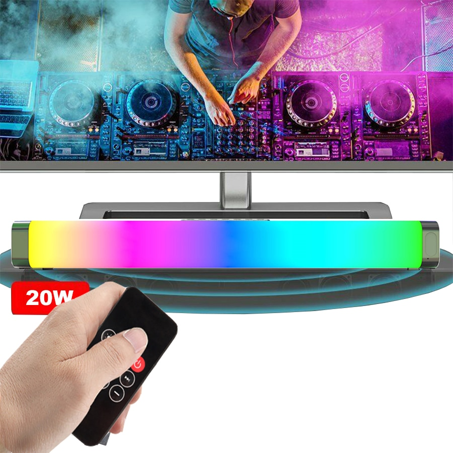 TV Computer Speakers with Colorful Lights Home Theater Soundbar Bluetooth Wireless Bedroom RGB Speaker Portable Stereo Audio 20W enlarge