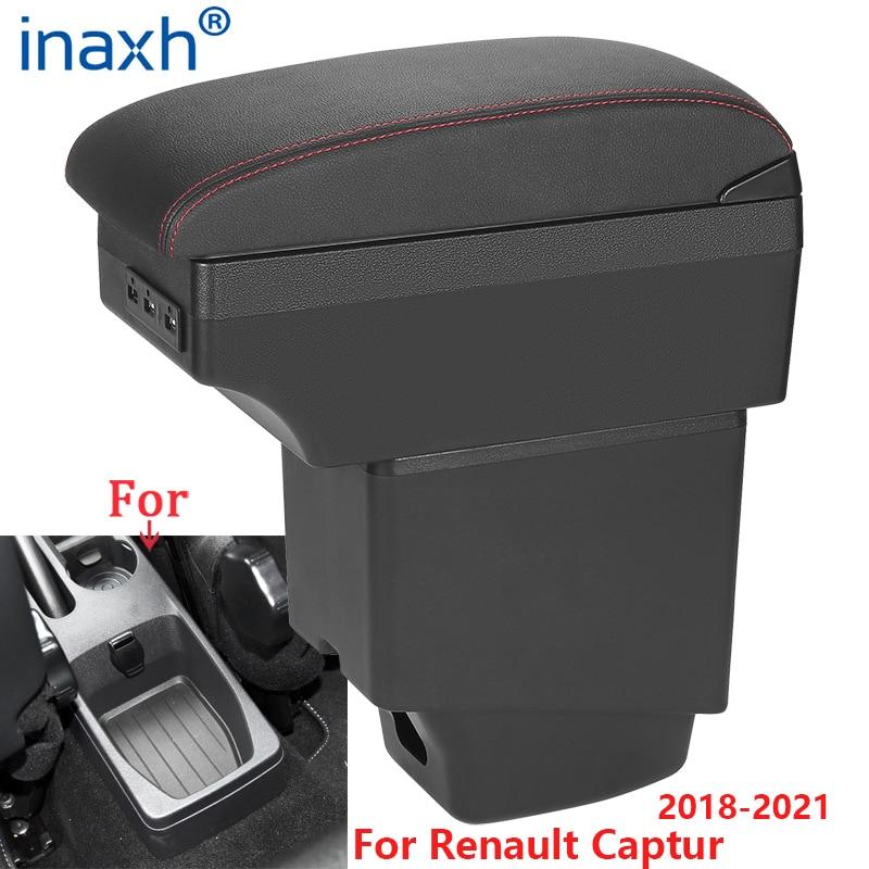 Автомобильный подлокотник для Renault Captur, подлокотник 2018 2019 2020 2021, автомобильные аксессуары, коробка для хранения, детали интерьера, USB