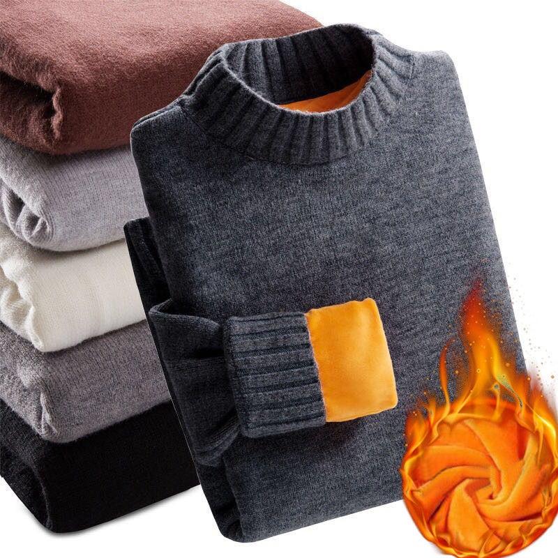 2019 inverno super quente camisola masculina gola alta fino macio velo pulôver sólido de malha mais ouro veludo espessamento suéter masculino