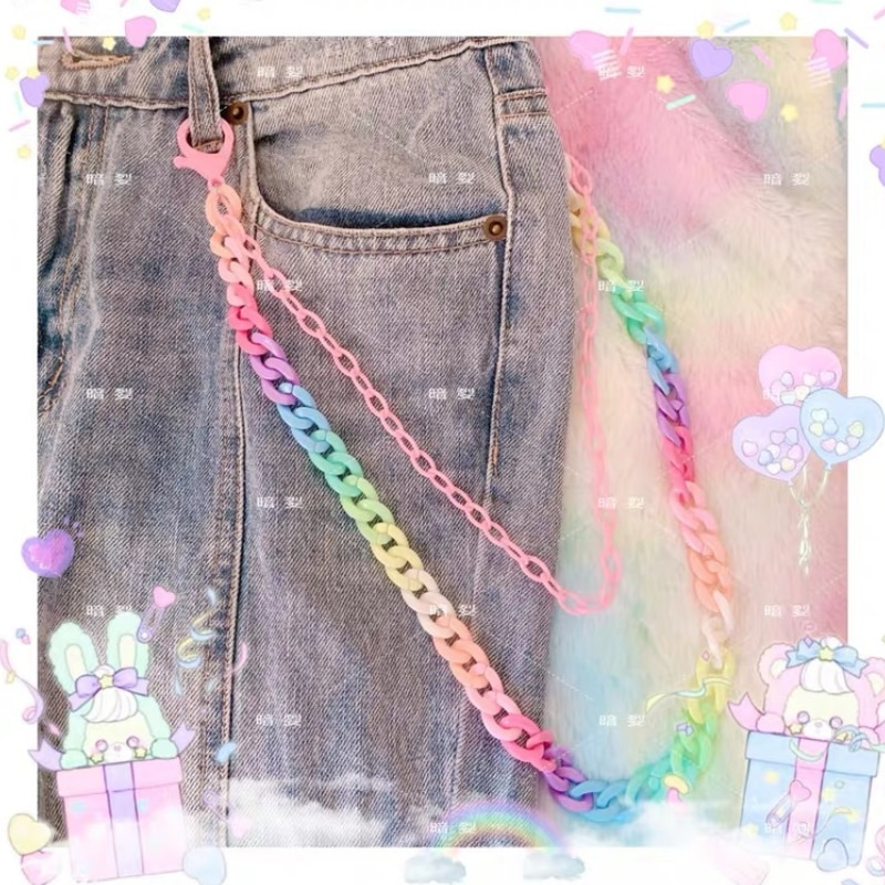 Candy Color Double Layer Keychain For Women Girl Hanging Chain Fashion Jeans Waist Pants Chain Key C