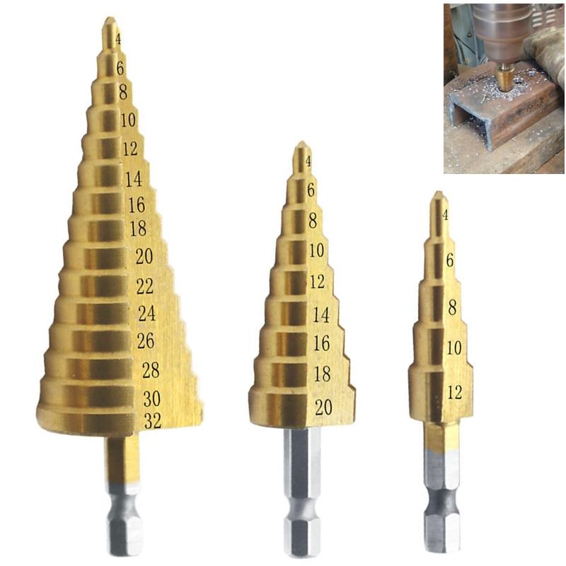 3ks HSS titanem potažený krokový vrták 4-12 4-20 4-32 vrtací elektrické nářadí na kov, rychlořezná ocel, vrták do dřeva, kuželový vrták