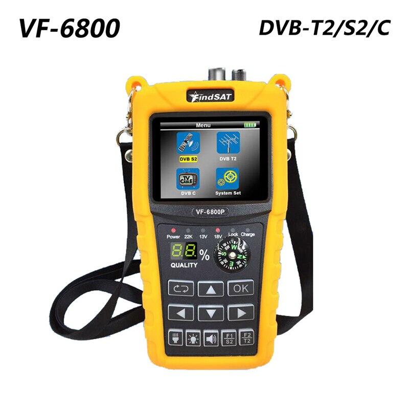 VF-6800 مع الأصفر كومبو DVB-T2 /S2 /C الأقمار الصناعية مكتشف 2000mA MPEG4 سات مكتشف متر 2.4 بوصة LCD HD الرقمية Satfinder