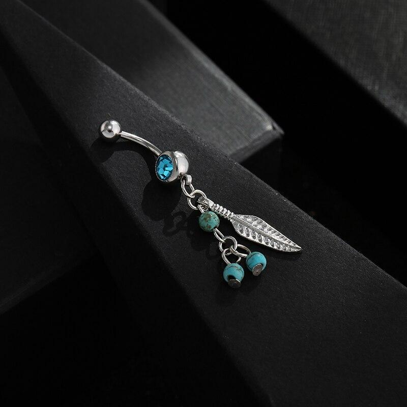 Piercing colgante de hoja de bola de cristal elegante en el Ombligo Barra de Ombligo anillos de haltera joyería corporal