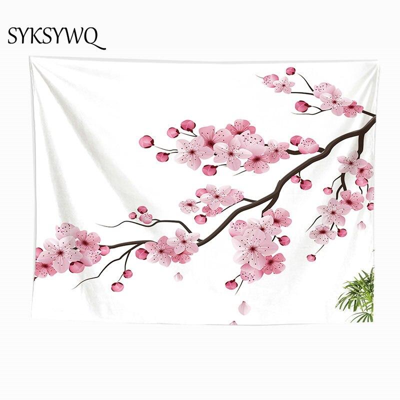 pink tapestry Plum blossom flower wall carpet bedroom decoration wall cloth custom tapestry muur tapijt