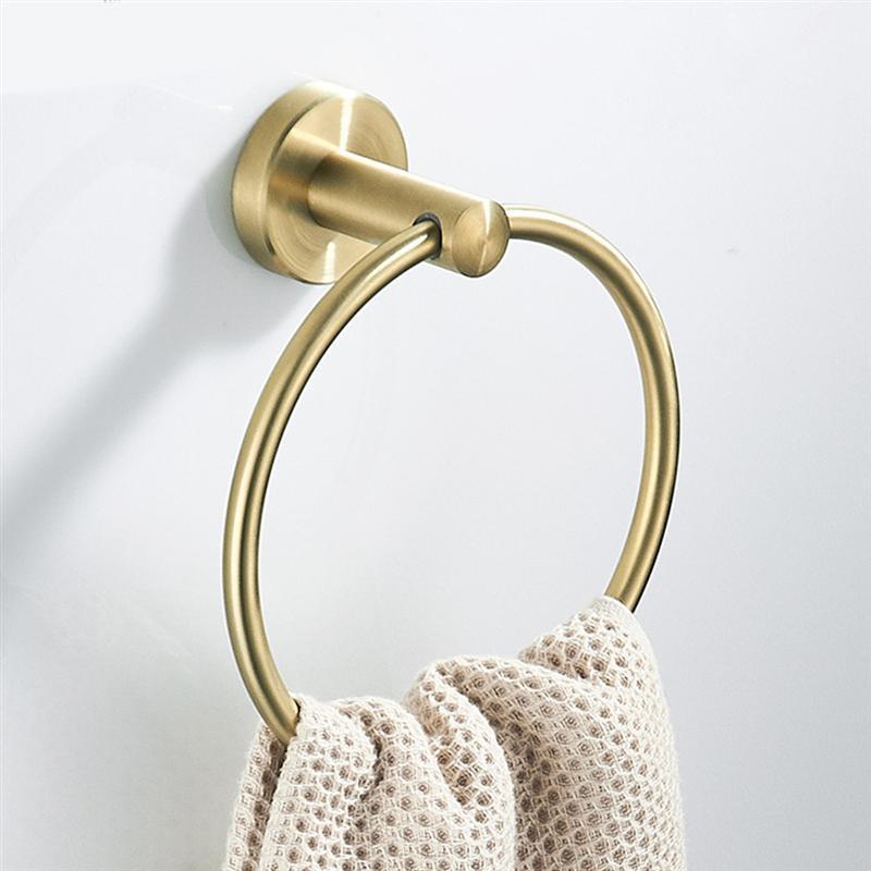 Porte-serviettes anneaux acier inoxydable brossé or mural porte-serviettes cintres de rangement porte-serviettes barres salle de bain toilette matériel