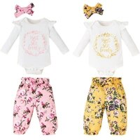 girls long sleeve pink printing suit cotton ruffle round neck white top casual loose yellow elastic waist pants fashion sets