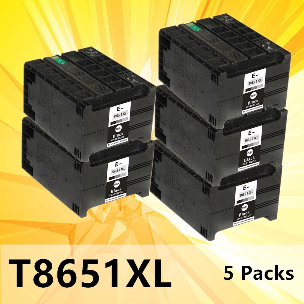 5 حزمة T8651 8651XL الحبر خرطوشة متوافقة لإبسون القوى العاملة برو WF M5191 M5190 M5690 طابعة الصباغ الحبر خرطوشة 185 مللي