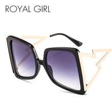 ROYAL GIRL Square Oversized Sungalsses Women Vintage Big Frame Sun Glasses Lightning Shape Frame Gradient Lens Eyewear Ss195