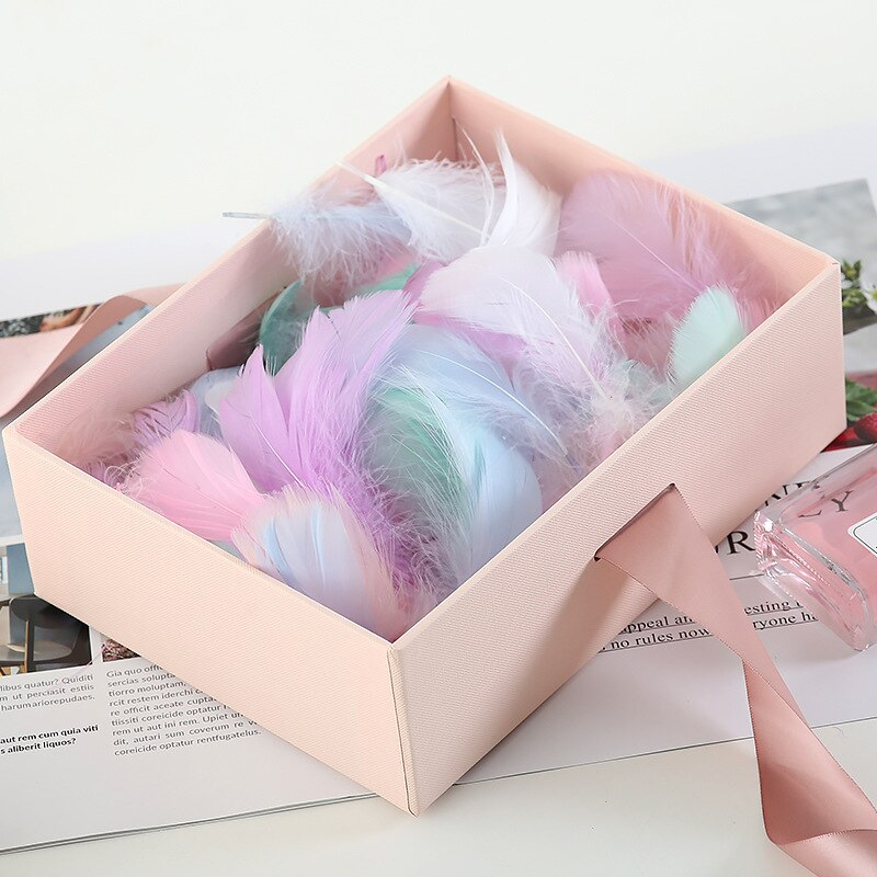 100pcs/pack Macaron Color Decorative Feather Gift Box Bobo Ball DIY Feather Stuffing Holiday Decor S