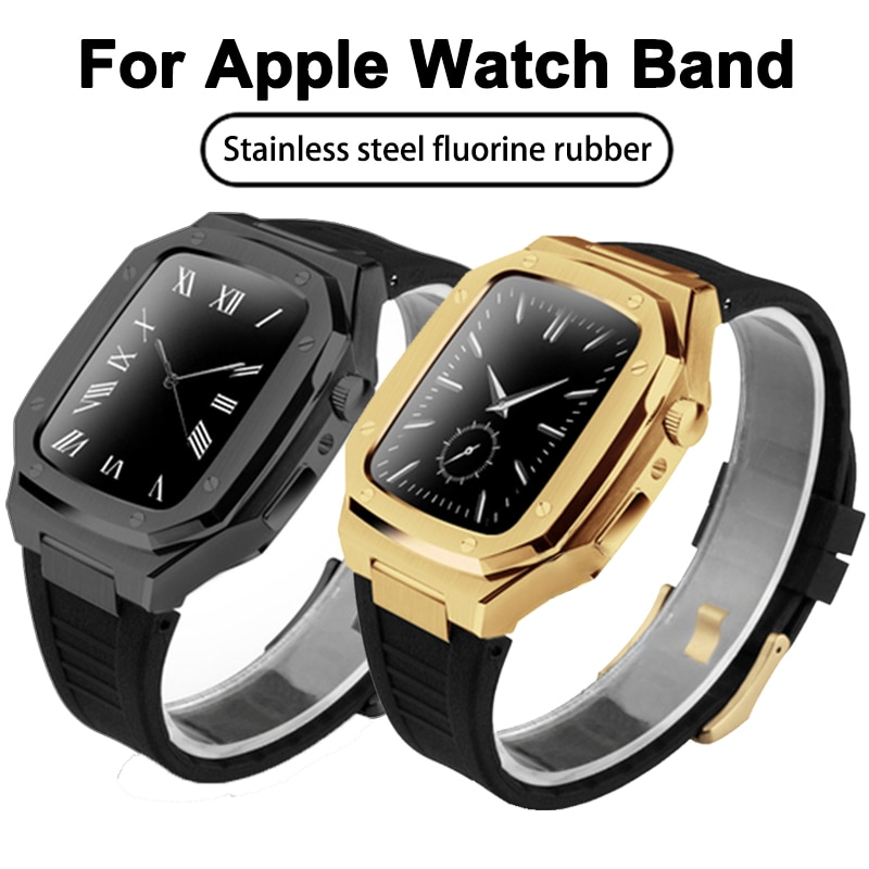 44mm Fluorine rubber sports strap For iWatch Series SE 6 5 Metal smart WatchBand Stainless steel set Watch Case with RepairTools