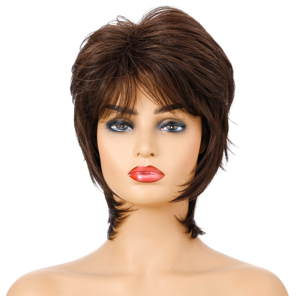 Mixed Brown Wig Short Pixie Synthetic Wigs for White Women Natural Looking Curly Hair Wigs Heat Resistant Fiber