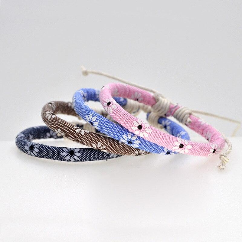 Pulsera de cuerda de hilo hecho a mano a la moda para mujer coreana Simple cuerda pulsera de encanto femenino regalo