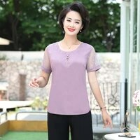 middle aged women summer blouse purple blue pink short sleeve lace patchwork o neck top mother thin fabric clothes