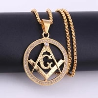 new ag masonic pattern round pendant necklace mens necklace sliding crystal inlaid pendant metal necklace accessories jewelry