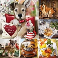 5d diy cute pet animal diamond painting cute dog diamond embroidery cross stitch full square round drill manual gift home decor