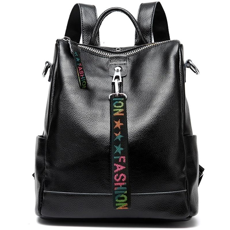 2020 المرأة 100% حقيقية حقيبة ظهر مصنوعة من الجلد في سن المراهقة الإناث مصمم حقيبة كتف المدرسة على ظهره المرأة حقائب الكمبيوتر المحمول mochila