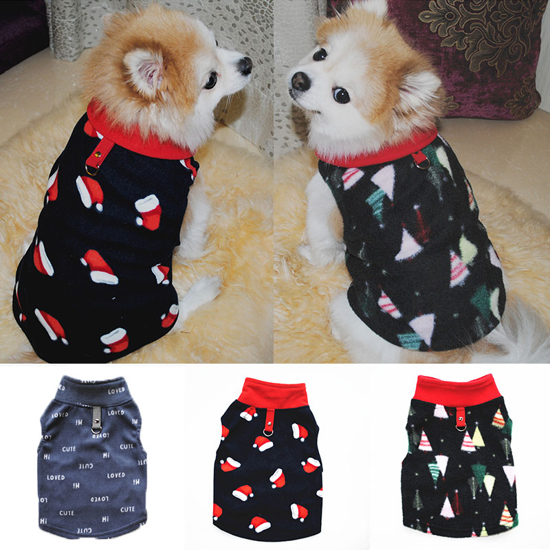 Cute Small Dog Fleece Hoodies Winter Warm Printed Solid Pet Dog Coat Chihuahua Clothes Small Dog Jacket With Traction Button