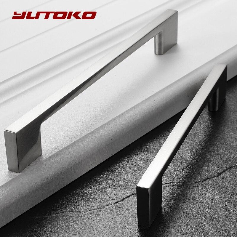 YUTOKO Cabinet Handles Zinc Alloy Modern Sliver Door Handles Elegant Drawer Pulls Knobs Kitchen Furniture Handle Hardware