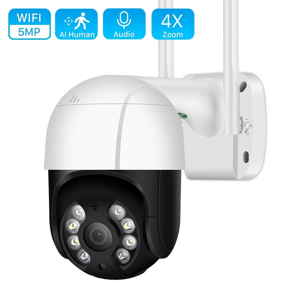 5MP HD PTZ Wifi Camera Outdoor Ai Human Detect Auto Tracking Audio WiFi PTZ Camera 1080P Color Night Vision Cloud CCTV IP Camera
