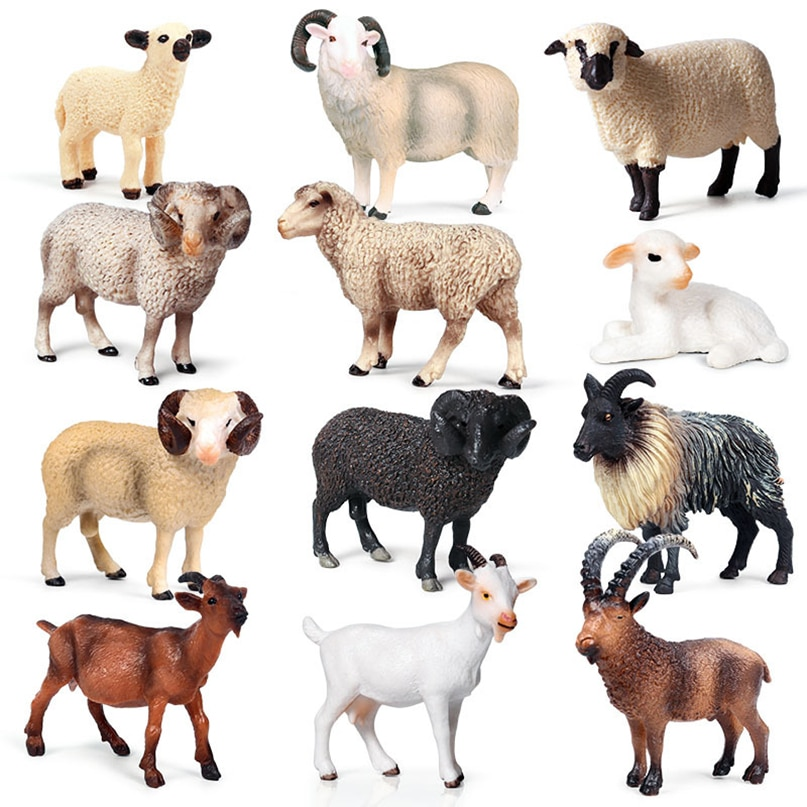 Simulation pour enfants solide statique modèle Animal sauvage alpaga chèvre mouton Ranch volaille jouet main décoration ensemble jouet cadeau