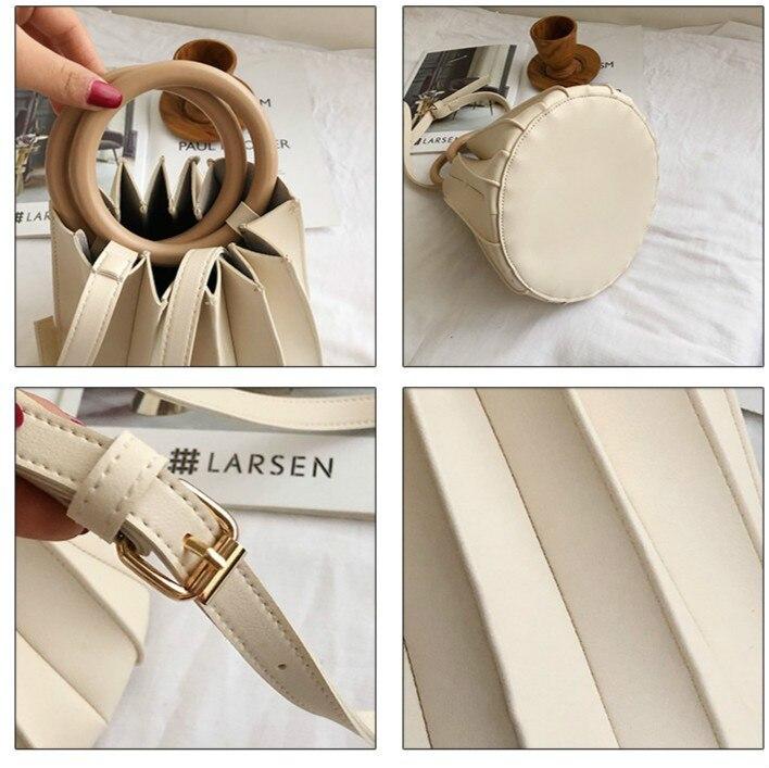 Ladies Shopping Small Tote Bags Handbags Women Famous Brands PU Leather Ruched Shoulder Bag Ladies Fashion Handbag Sac A Main