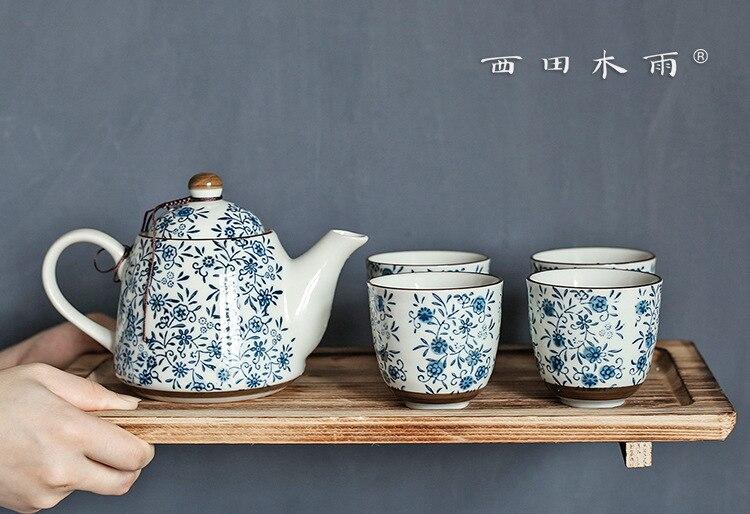 نيشيدا-طقم شاي زهور خشبي ، إبريق شاي على الطريقة اليابانية ، تحت الزجاج ، 4 أكواب ، للاستخدام المنزلي