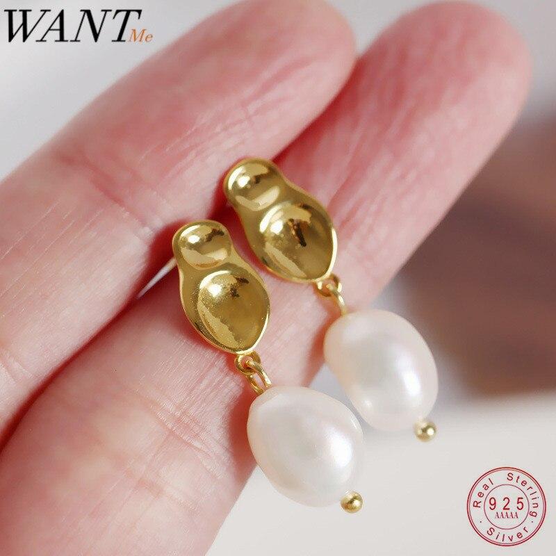 Wantme moda ins barroco minimalista irregular geométrica pérola brincos para mulher genuína 100% 925 prata esterlina jóias