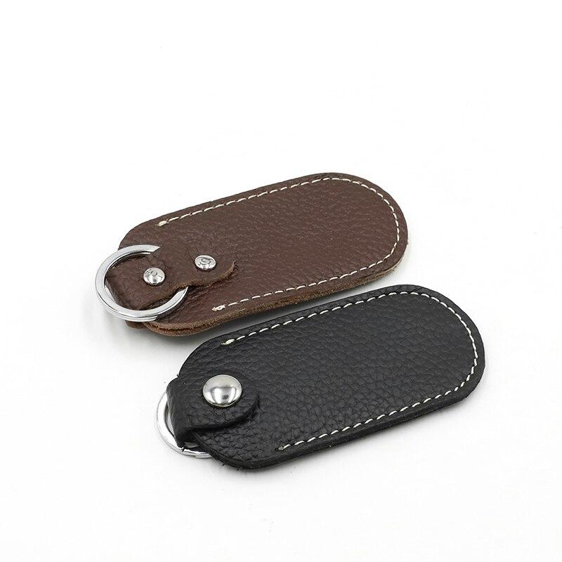Genuine Leather U Disk Hasp Storage Bags Protective Cover for U Disk Black Bag Cases for USB Flash D