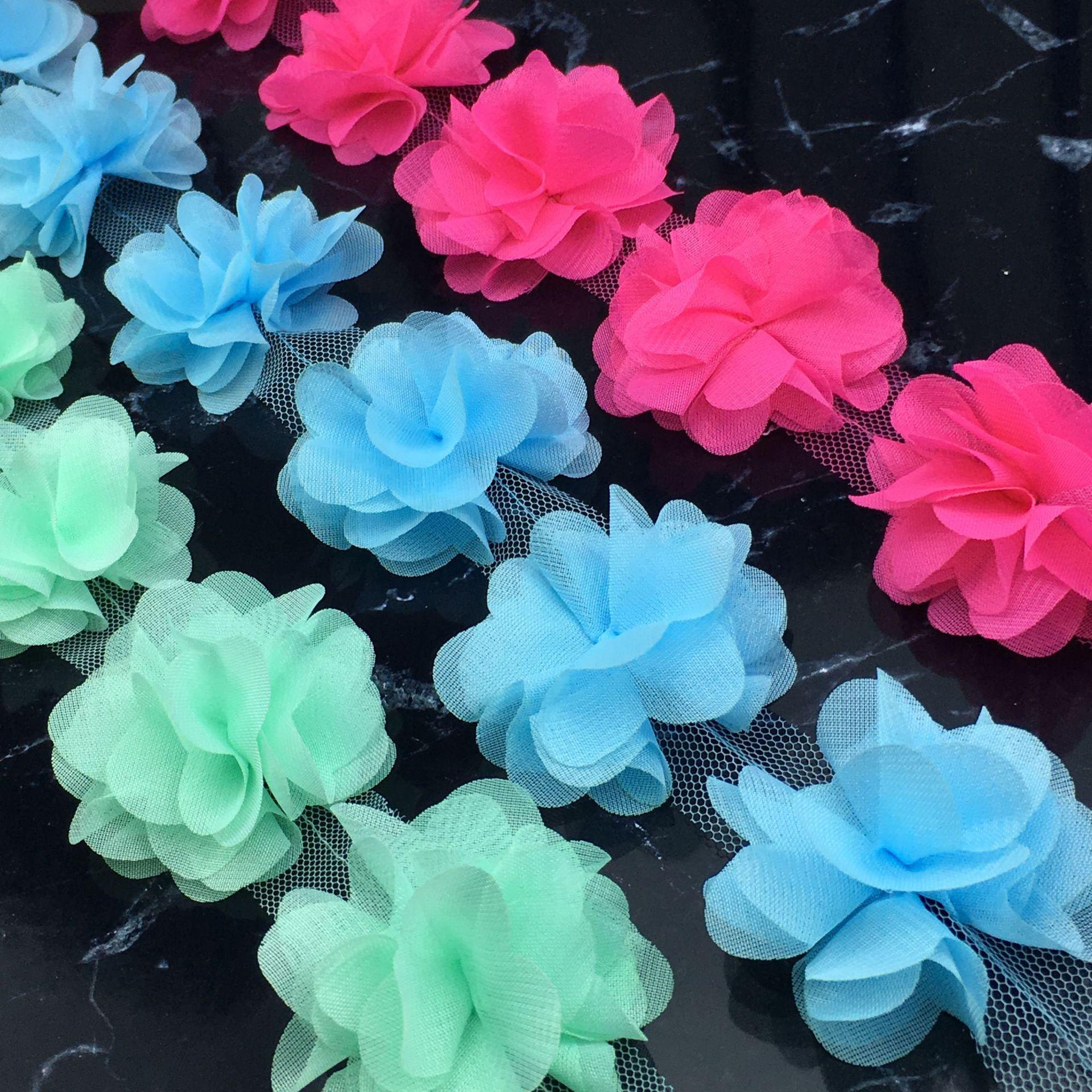 Decoración de ropa de encaje grupos de flores de gasa 3D flores 60 uds para recorte de encaje DIY bordado para coser tela de encaje africano
