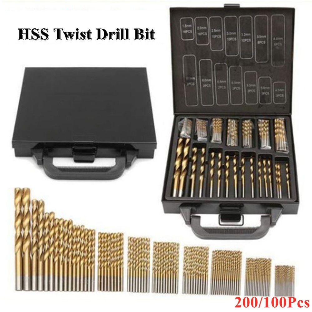 2021 Hot Titanium Coated Twist Drill Bit High Speed Steel Hole Opener Woodworking Metal Plastic Tools Electric 200Pcs