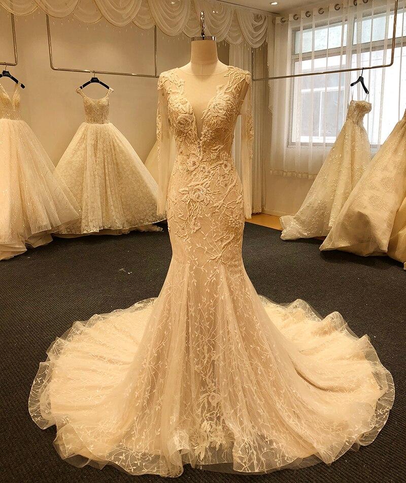 SL-5003 nova chegada de cristal frisado sereia vestidos de casamento mangas compridas pérola botão vestido de noiva boho robe de mariage 2020