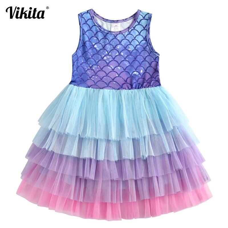 VIKITA Brand Kids Tutu Dress for Girls Birthday Party Princess Dresses Children Beach Clothing Baby Girls Summer Dress