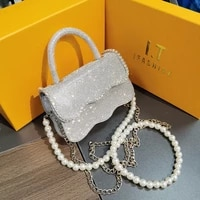 luxury diamonds pu leather crossbody shoulder bags for women 2021 summer brandedtrending pearl chain bag bolso mujer sac a main