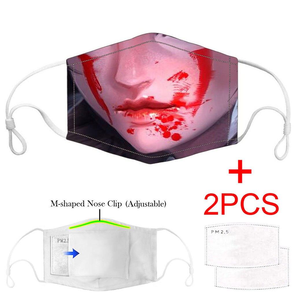 3PCS Adult maska facemask Carbon Insert Funny print cotton Washable Reusable masque mascherine