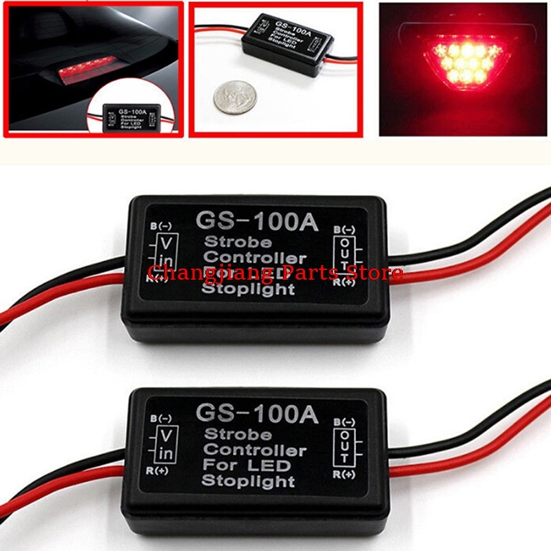 universal 12v wireless remote strobe control module for led stoplight drl flash controller flasher system car motorcycle diy 12v Car Vehicle Gs-100a Led Flash Strobe Controller Flasher Module Auto Led Rem Stop Light Lamp