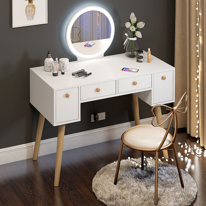 Nordic bedroom small apartment dressing table storage cabinet integrated dressing table modern minimalist style dressing table multifunction flip lid dresser nordic storage cabinet girl lady bedroom furniture modern small dressing table desk
