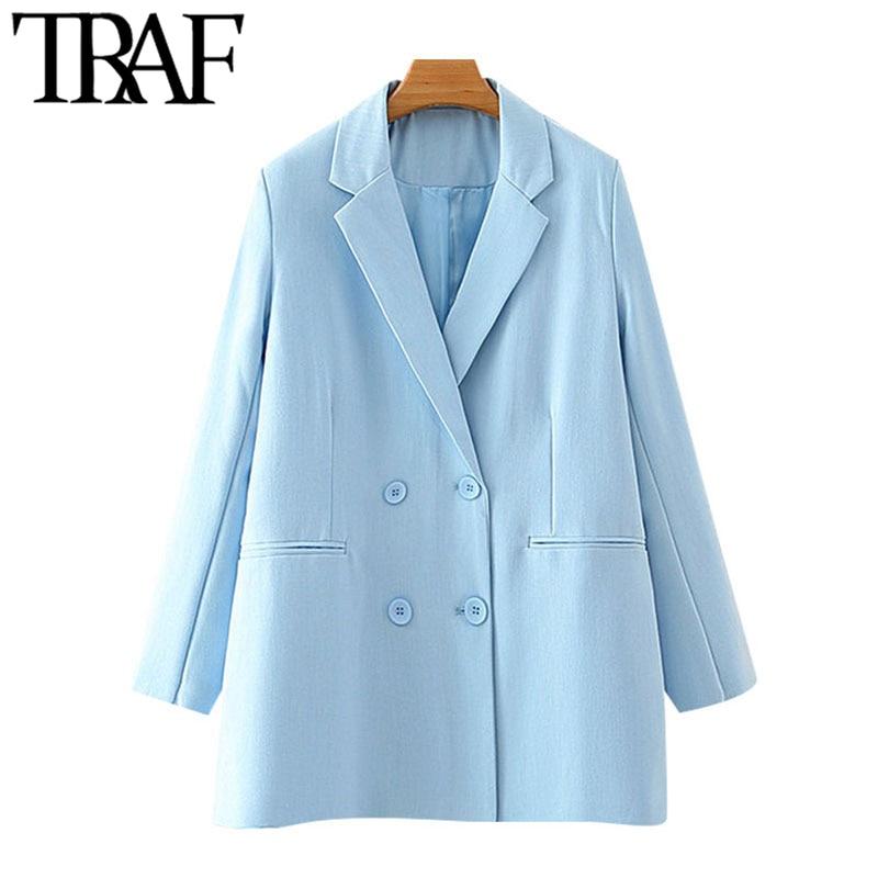 ملابس عصرية للنساء من TRAF سترة مزدوجة الصدر معطف عتيق بجيوب بأكمام طويلة ملابس خارجية نسائية أنيقة