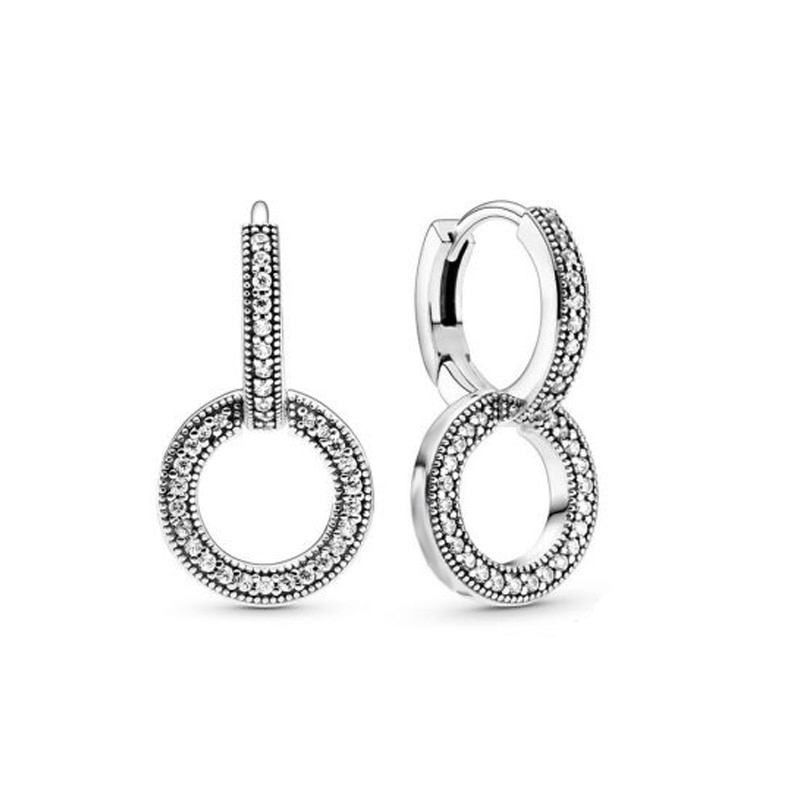 Pre-autumn New 2020 Sparkling Double Hoop Earrings Women Jewelry Gift Cubic Zirconia Silver Zircon Third Party Appraisal Trendy