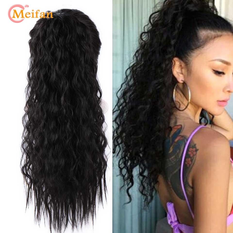 MEIFAN peluca larga Afro rizado cola de caballo, envoltura de Velcro en cola de poni, extensiones de cabello sintético, piezas falsas de cabello