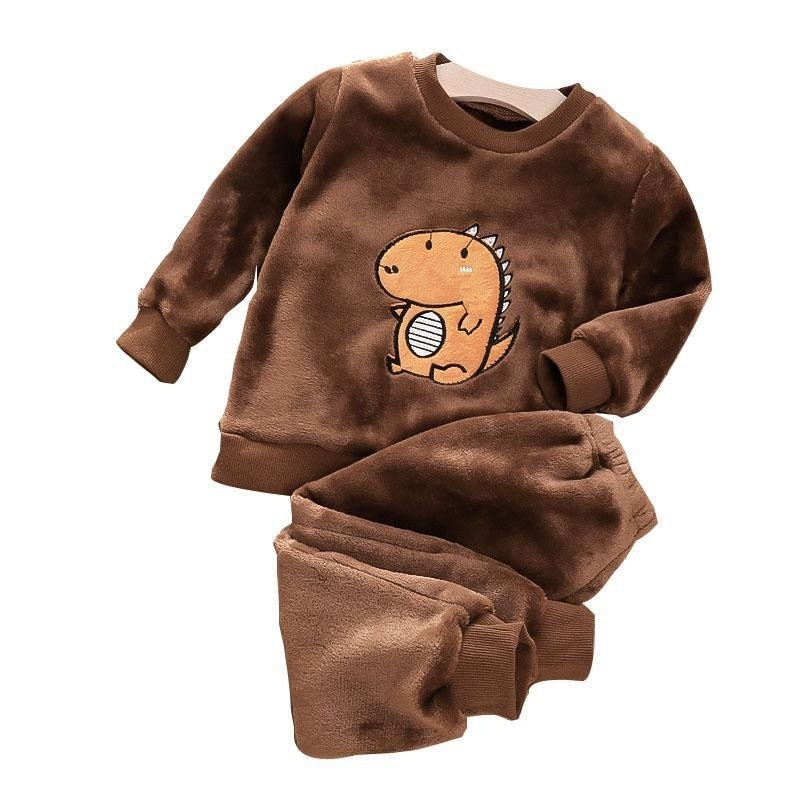 Autumn Winter New Children's Clothing Suits Baby Girl Clothes Baby Boy Clothes Plush Long-sleeved Top and Pants Boys Clothes
