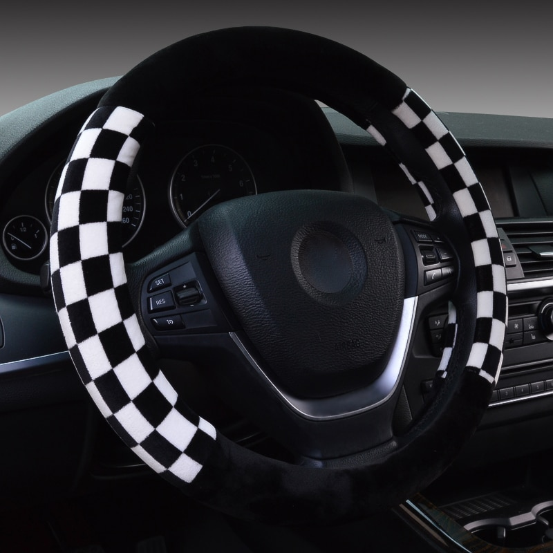 DUKEAUTO caliente de lana de felpa material de coche accesorios trenzados volante cubierta 38-40cm de diámetro mini brillo