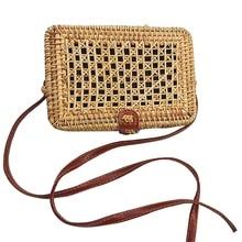 JHD-손으로 짠 사각형 짚 등나무 가방 어깨 고리 버들 지갑 자연 세련된 핸드백