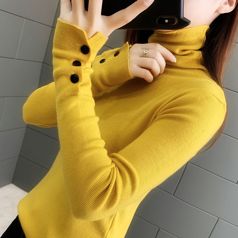 Autumn 2020 new slim long sleeve pile up high neck knitted bottoming shirt women's tight sweater with autumn and winter trend enlarge